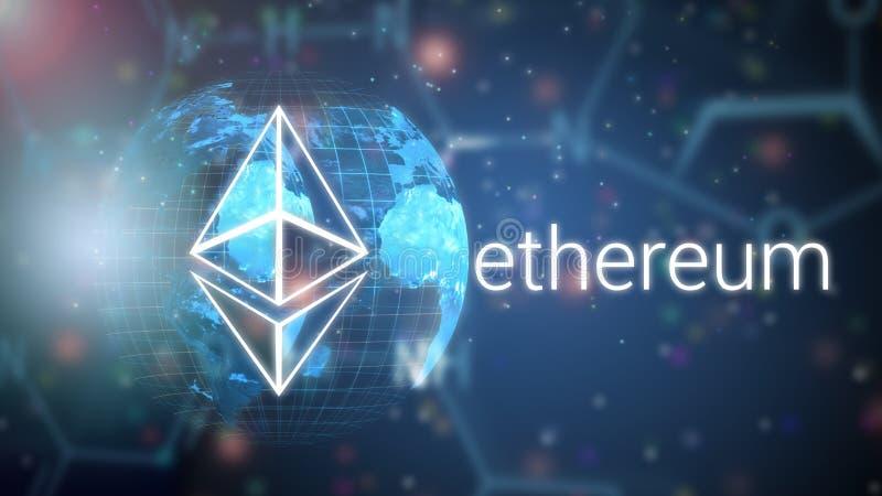 Plataforma que corre el contrato elegante en una infraestructura global compartida, ejemplo del app del blockchain de Ethereum ilustración del vector
