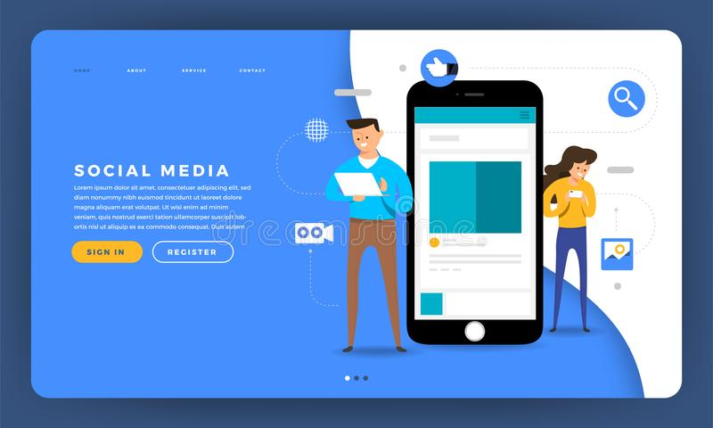 Plataforma social plana del concepto de diseño del sitio web del diseño de la maqueta medios stock de ilustración