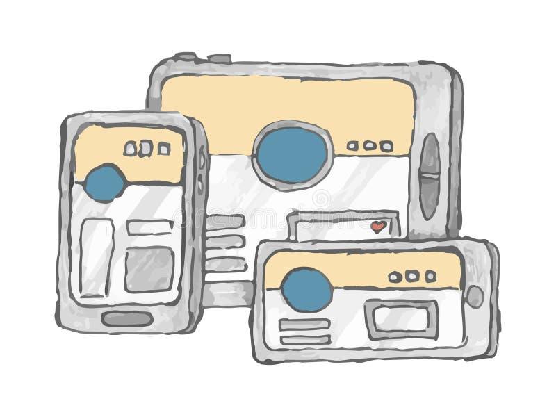 Plataforma transversal O conceito da busca intersystem e da compra em dispositivos m?ltiplos do telefone marcar Ilustra??o do vet ilustração stock