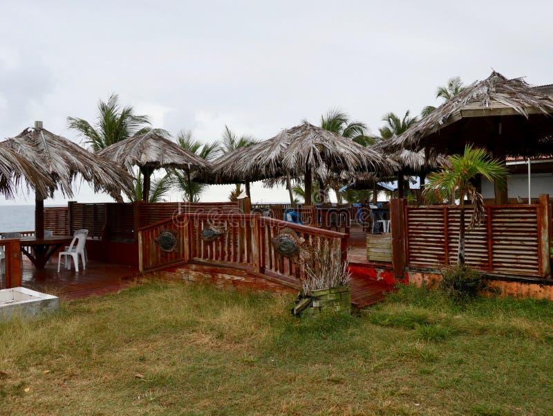Plataforma tropical com guarda-chuvas da palma fotos de stock royalty free