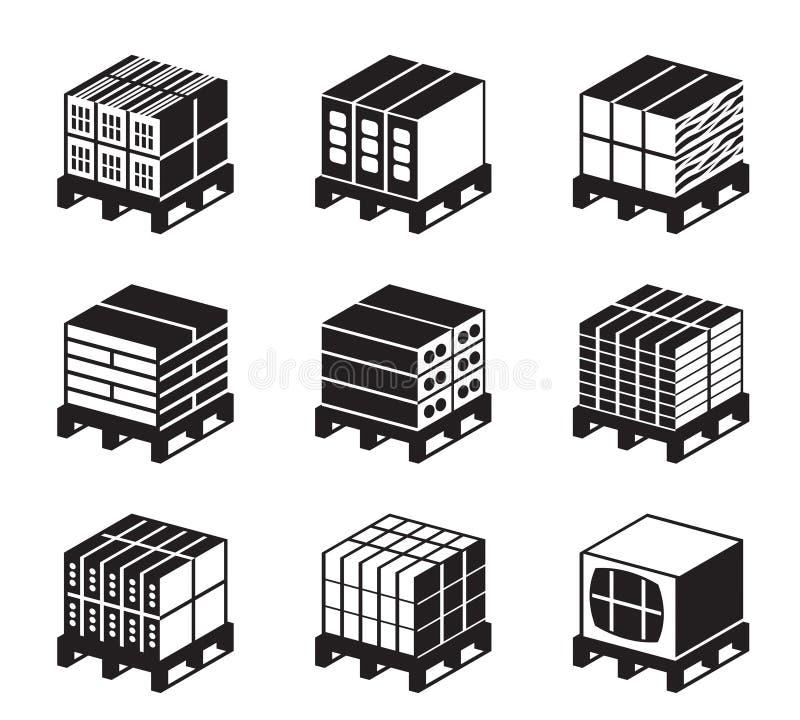 Plataformas con los ladrillos y los bloques de cemento ilustración del vector