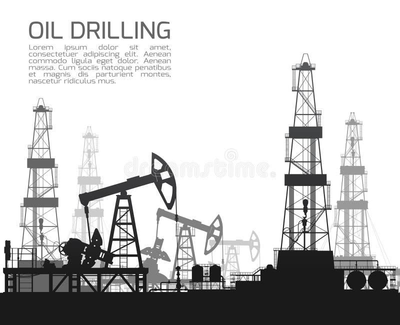 Plataformas de perforación y bombas de aceite en blanco ilustración del vector