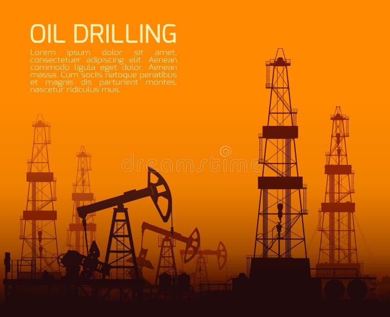 Plataformas de perforación y bombas de aceite en la puesta del sol stock de ilustración