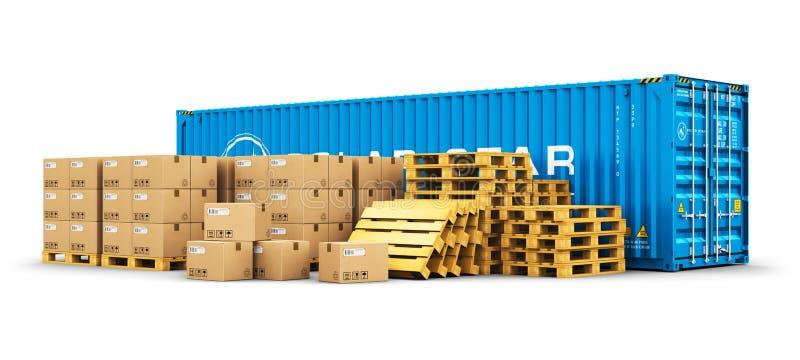 plataformas del contenedor para mercancías y del envío de 40 pies con las cajas de cartón stock de ilustración