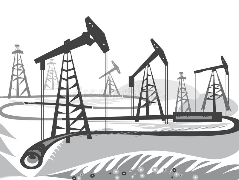 Plataformas petrolíferas ilustração royalty free