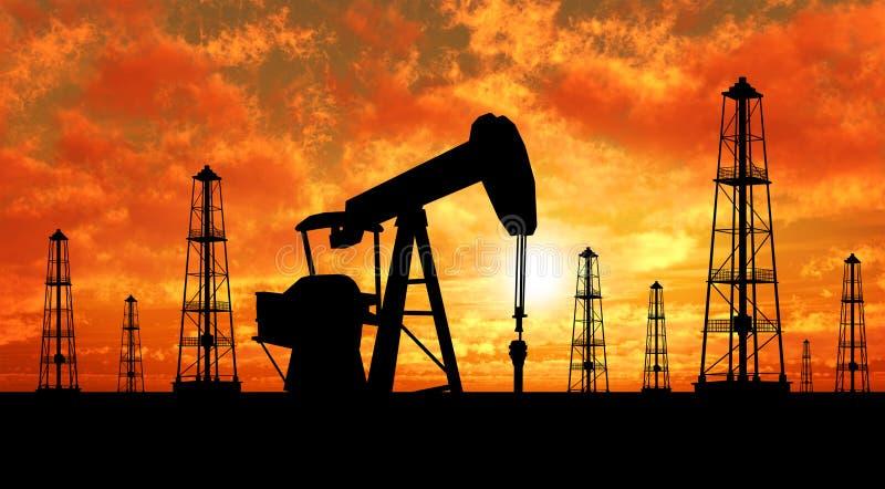 Plataformas petrolíferas e bombas da silhueta fotografia de stock