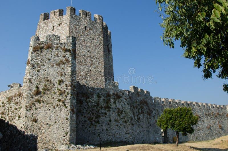 Platamonkasteel dichtbij Platamonas-stad Griekenland stock foto's
