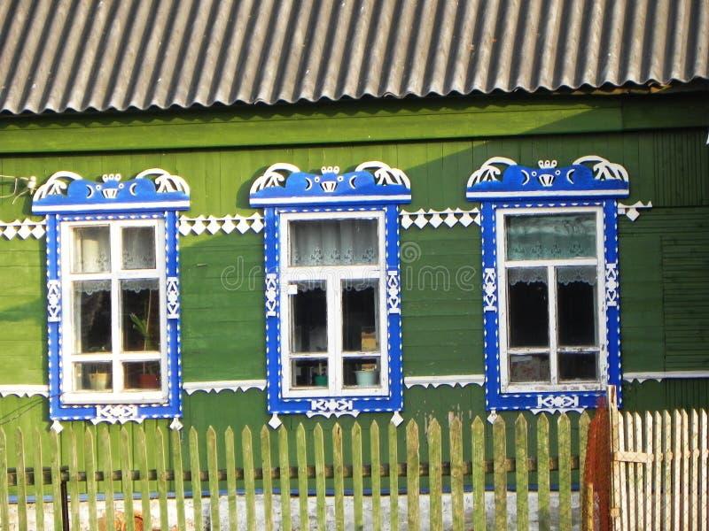 Platbands w starej wiosce, Rosyjska wioska w głąb lądu Rosja, fotografia stock