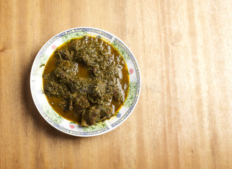 A plate of Afang soup. An african soup from Eastern Nigeria stock images