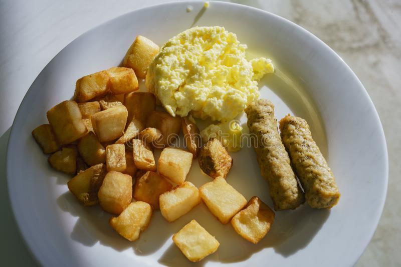 Plate of American style breakfast stock photo