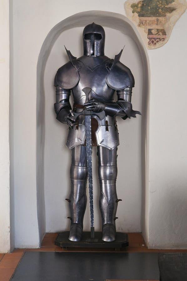 Plate armour. Detail of a plate armour. Albornoz fortress. Narni. Umbria. Italy stock photo