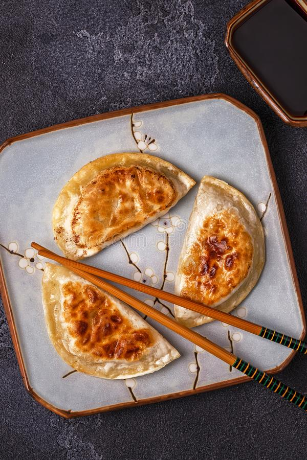 Plate of asian gyoza, dumplings snack. royalty free stock images