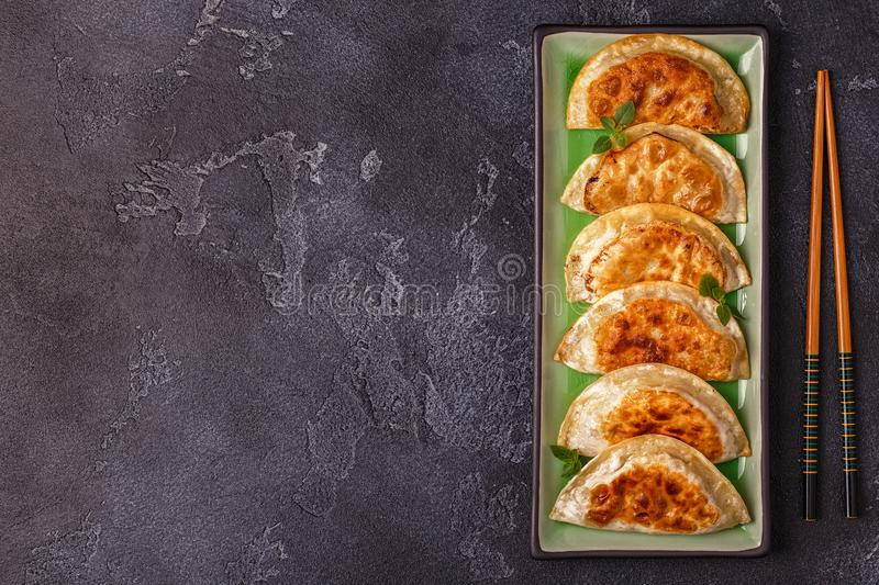 Plate of asian gyoza, dumplings snack. stock images