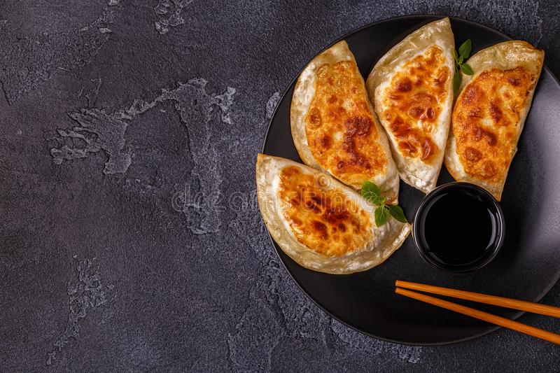 Plate of asian gyoza, dumplings snack. royalty free stock photos