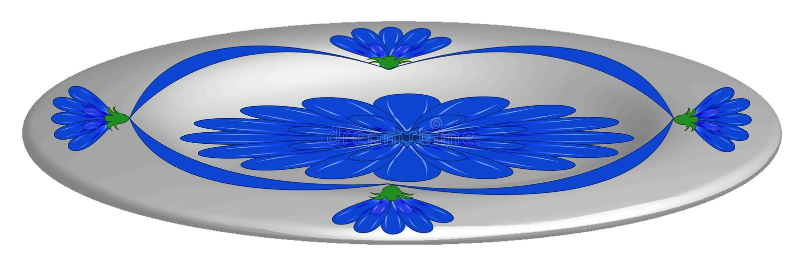 Plate, with blue flowers. Vector illustration, plate, with blue flowers, for decoration of kitchen themes stock illustration