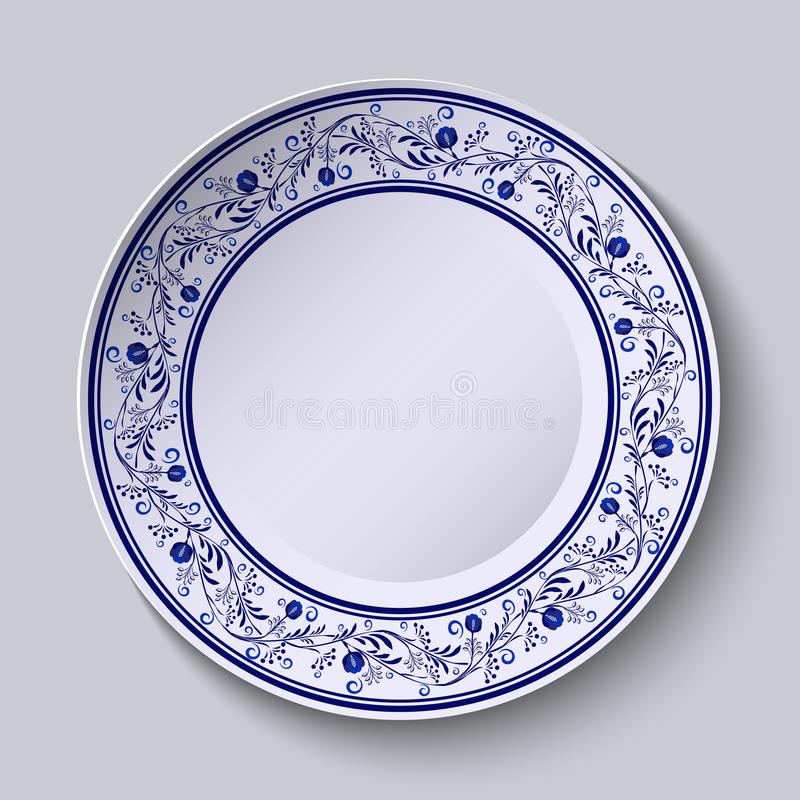 Download Plate With Blue Patterned Border. Template Design In Ethnic Style Gzhel Porcelain Painting.  sc 1 st  Dreamstime.com & Plate With Blue Patterned Border. Template Design In Ethnic Style ...