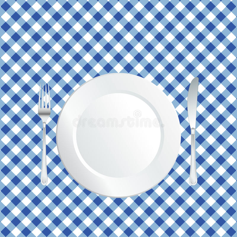 Download Plate on blue tablecloth stock vector. Image of cooking - 16482853