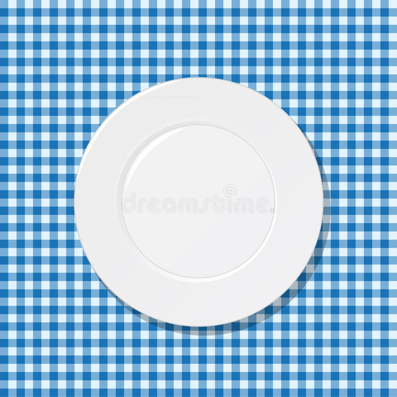 Download Plate on blue tablecloth stock vector. Illustration of cotton - 27701803