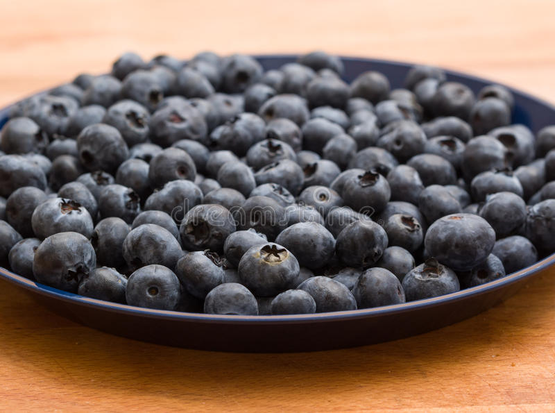 Plate of blueberries stock photos