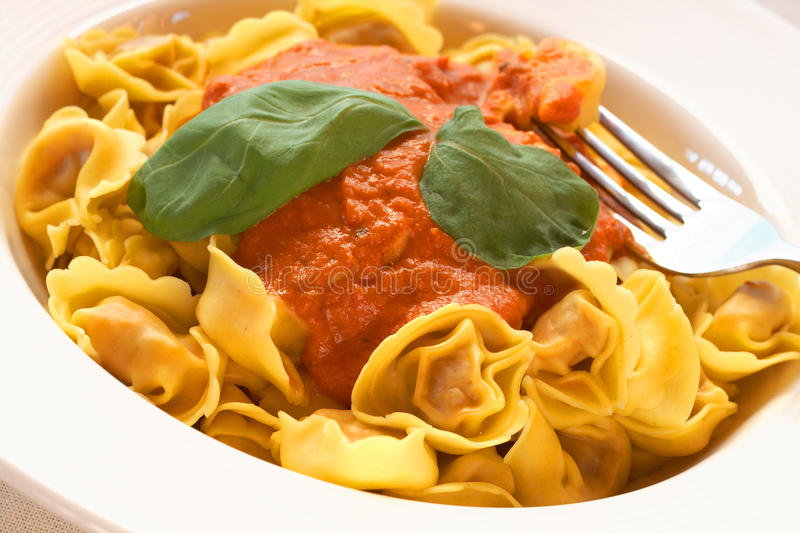 Plate of bolognese tortelloni stock photos