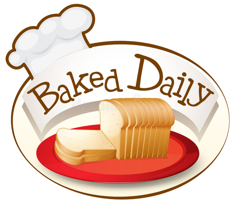 A plate of bread with a baked daily label stock illustration