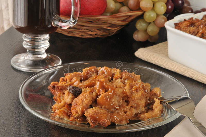 Plate of bread pudding stock photography