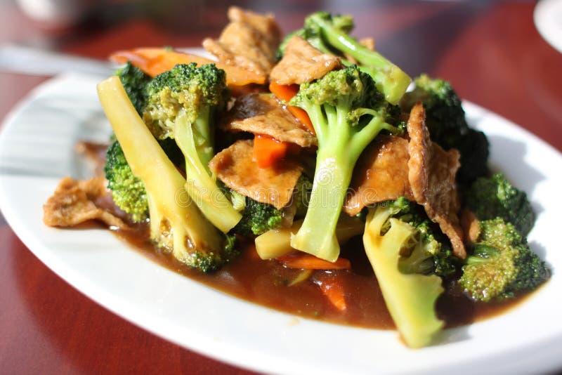 Plate of broccoli with vegan seitan
