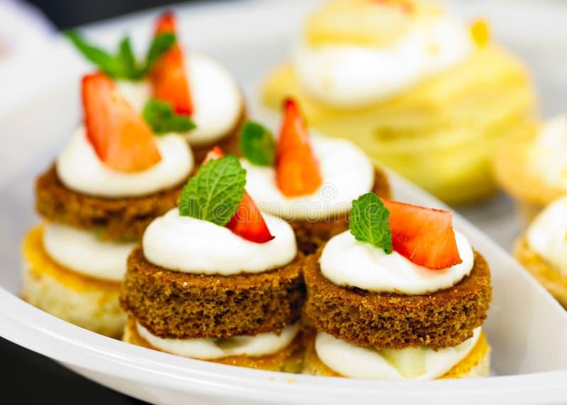 Plate of fruit dessert stock photos