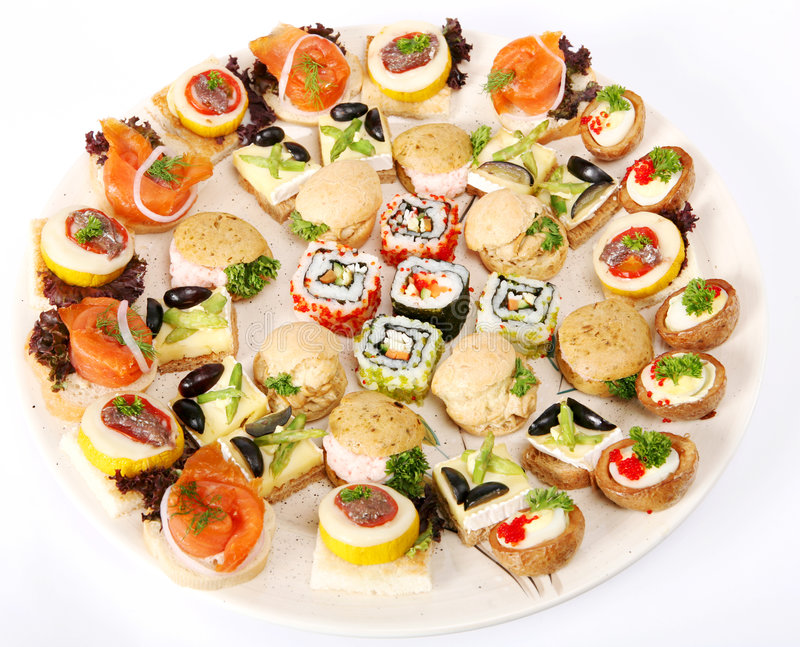 Plate of canapes stock photography