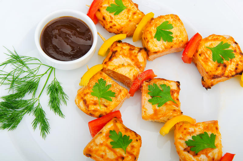 Download Plate with chicken kebab stock image. Image of restaurant - 21895337