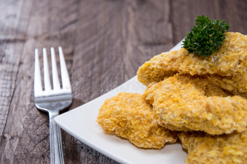 Plate with Chicken Nuggets royalty free stock photos