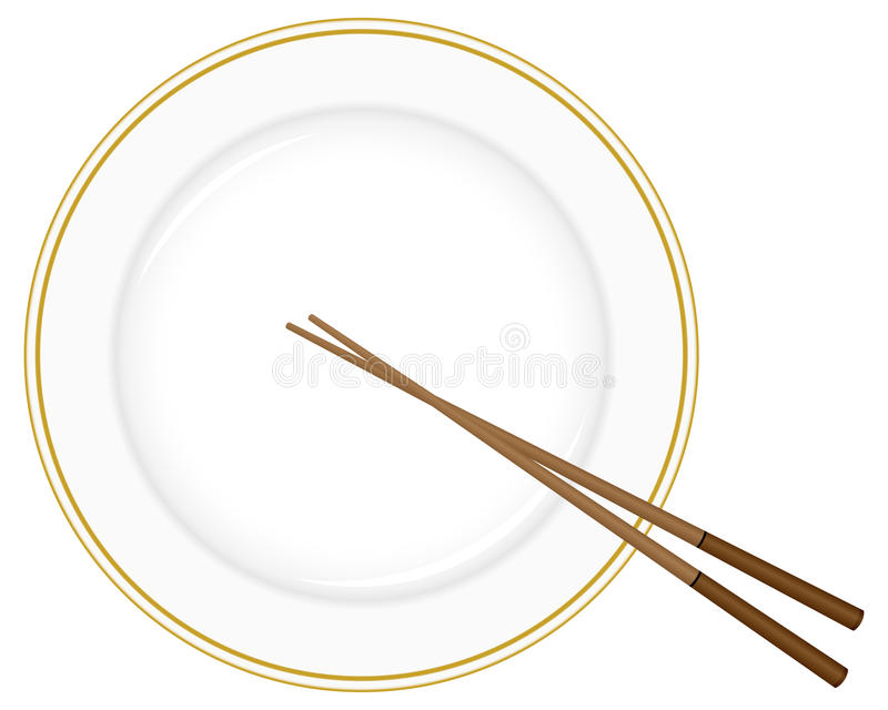 Plate and chopsticks royalty free illustration