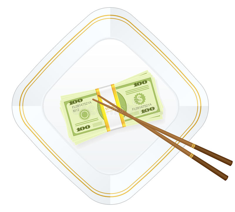 Plate chopsticks and dollar pack royalty free illustration