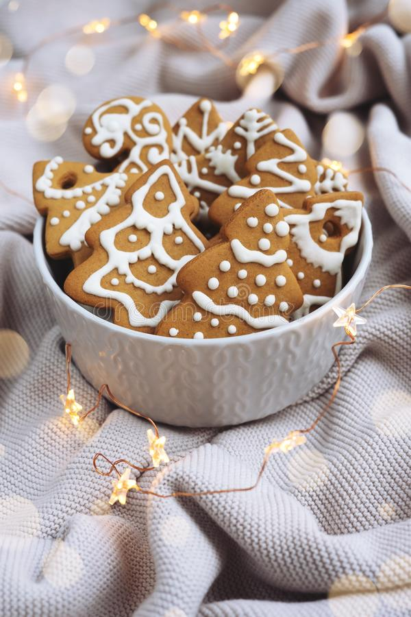 Plate with Christmas cookies on the cosy plaid. Plate with homemade Christmas cookies and Christmas lights on the cosy plaid stock photo