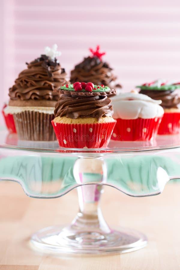 Plate with Christmas mini dessert stock image