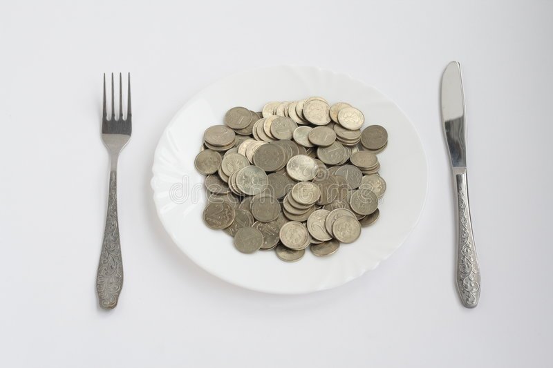 Download Plate with coins stock photo. Image of breakfast, coin - 8362054