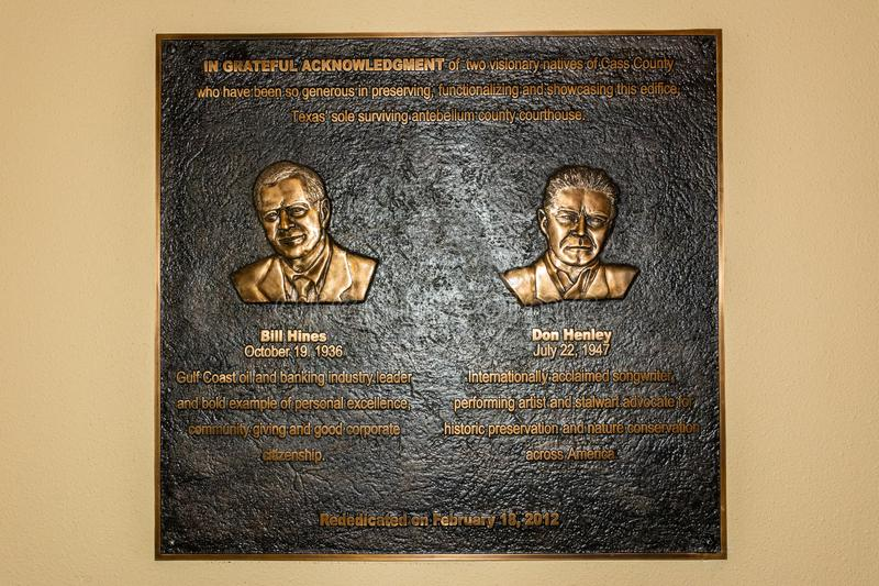 Plate commemorating musicians Bill Hines and Don Henley. Linden, Texas, United States of America - January 14, 2017. Plate commemorating musicians Bill Hines and stock photo