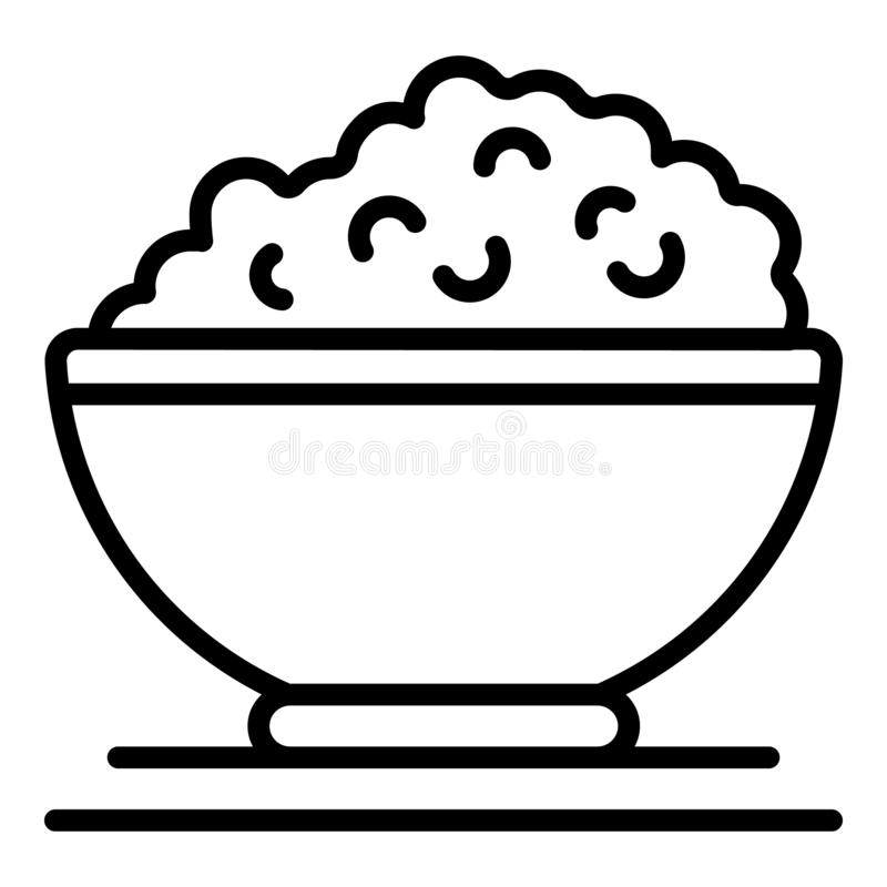 Plate with cottage cheese icon, outline style. Plate with cottage cheese icon. Outline plate with cottage cheese vector icon for web design isolated on white royalty free illustration
