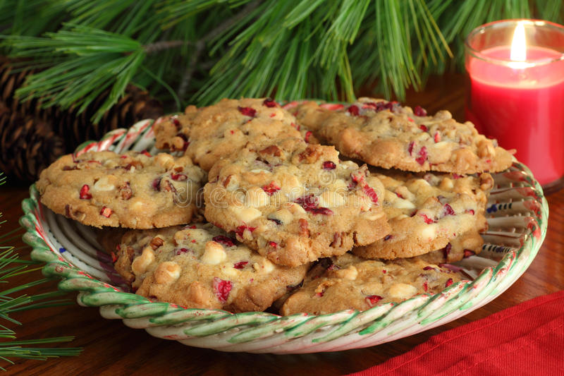 Plate of Cranberry Christmas Cookies