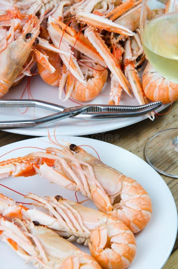 Plate of crayfish royalty free stock photos