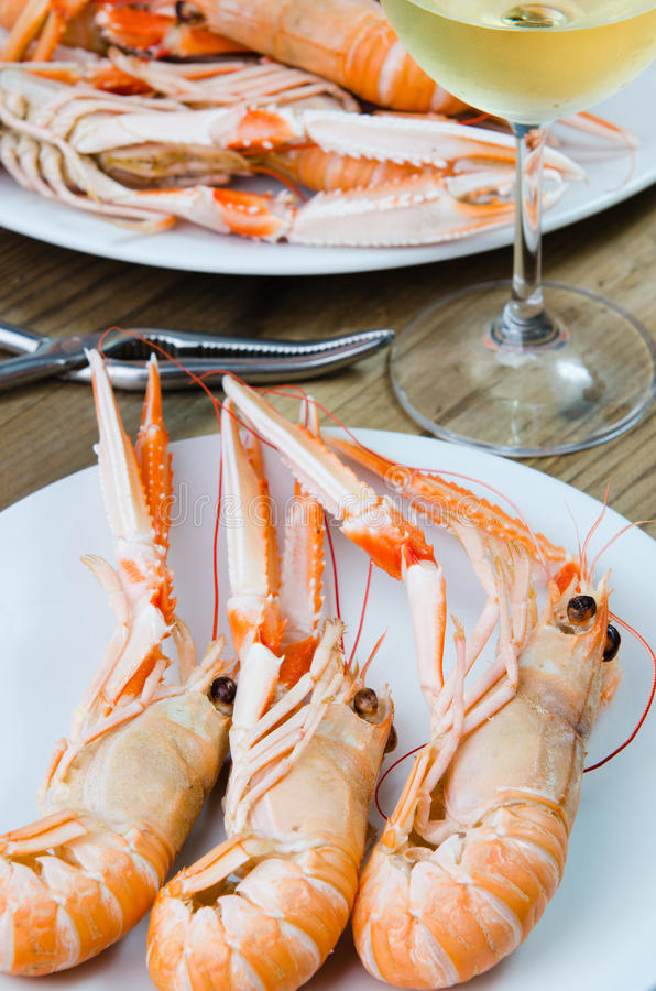 Plate of crayfish stock image