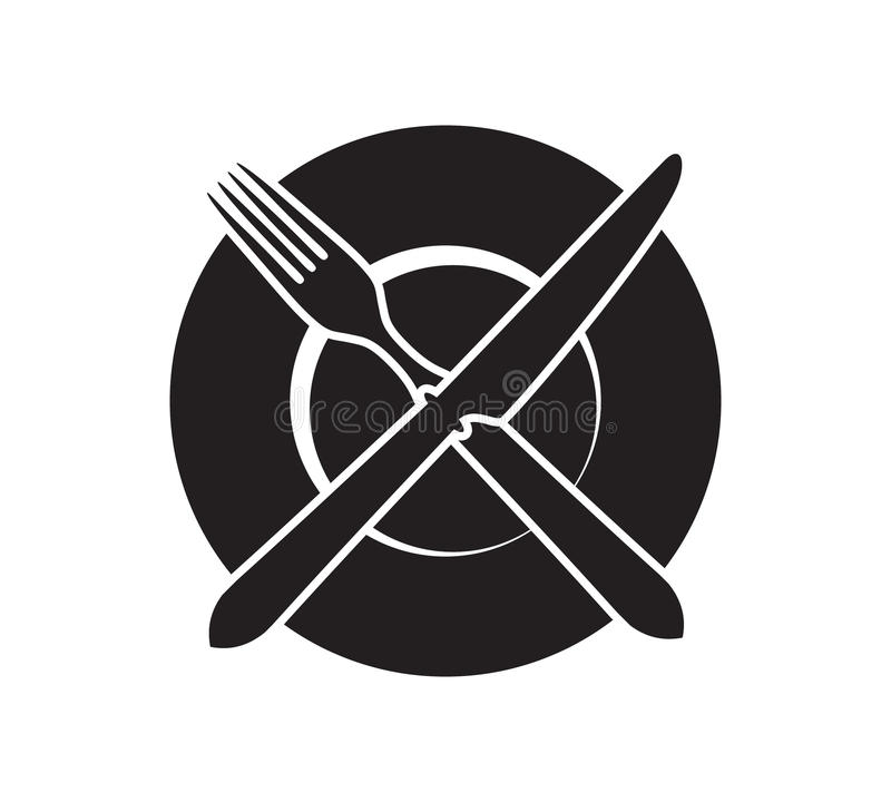 Plate With Crossed Fork And Knife Icon Stock Vector