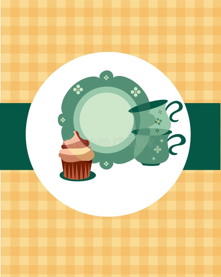Download Plate And Cups Beside Dessert Stock Vector - Image: 16068385