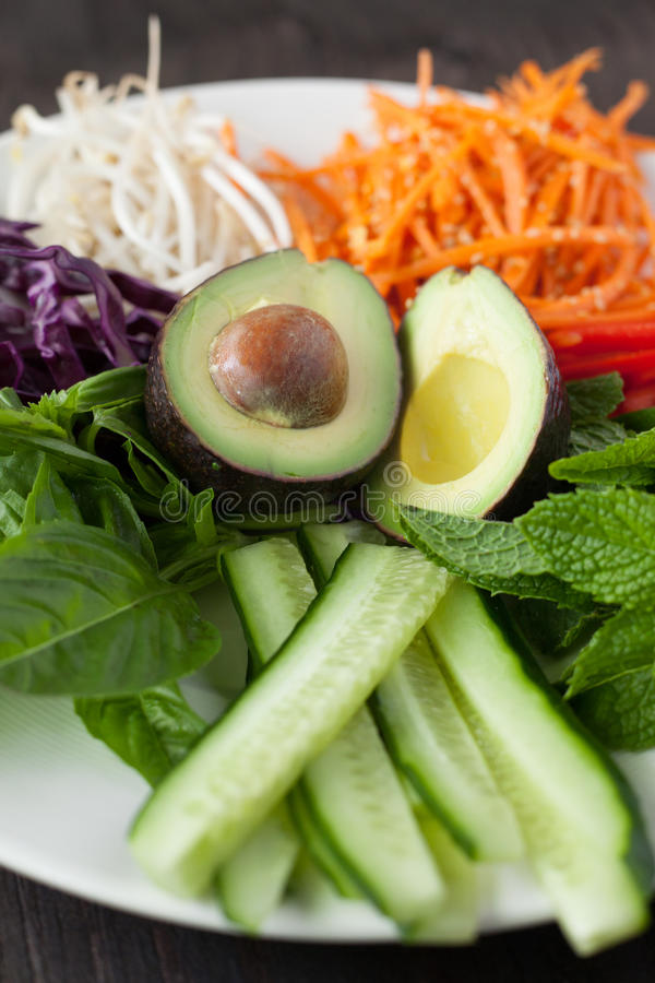 A Plate of Cut Vegetables royalty free stock photo