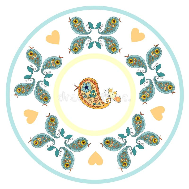 Plate with cute birds and hearts. Plate with cute birds. Vector illustration vector illustration