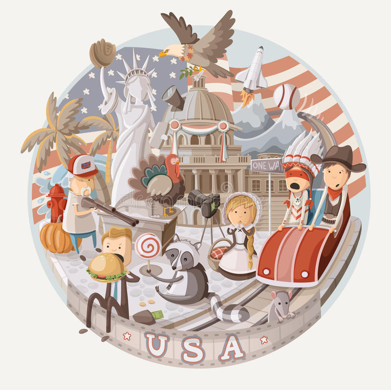 Plate design with items from USA vector illustration