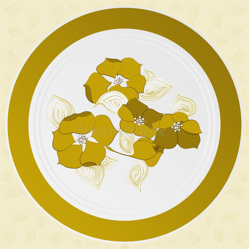Plate with design of yellow flowers royalty free stock image