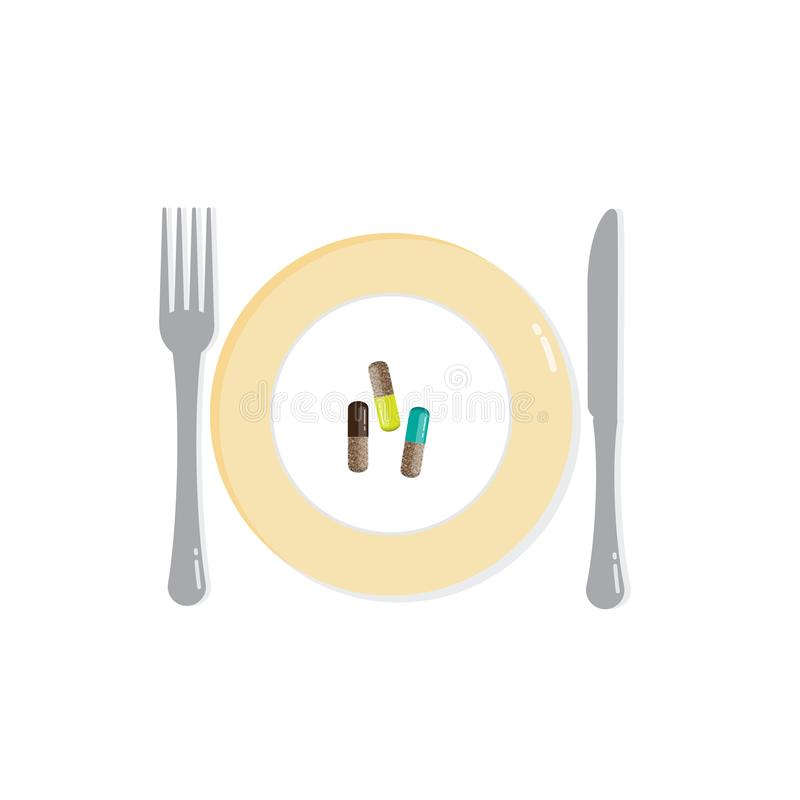 Plate with dietary supplements in pill form. Diet vector illustration. stock illustration