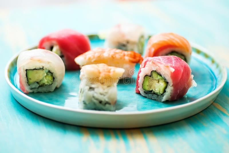 A plate with different kind of sushi royalty free stock photo