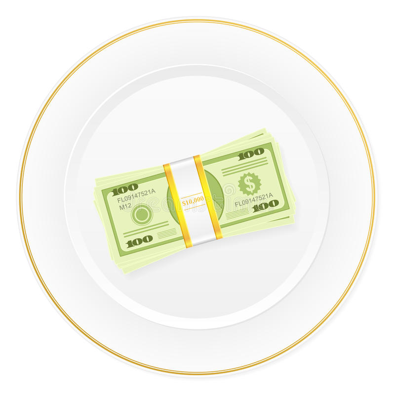 Plate and dollar pack vector illustration